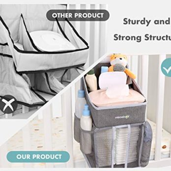 Nursery Organization /& Baby Shower Gifts for Newborn Crib Hanging Diaper Caddy Organizer Playard or Wall Diaper Stacker for Changing Table