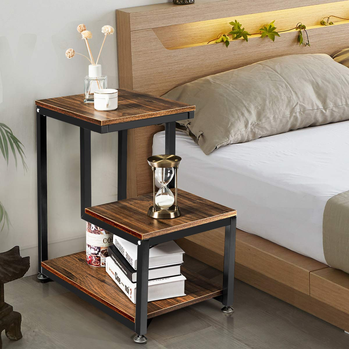 3 Tier Rustic Metal Frame Nightstand With Storage Shelf