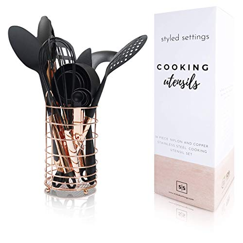 Black And Copper Cooking Utensils With Stainless Steel