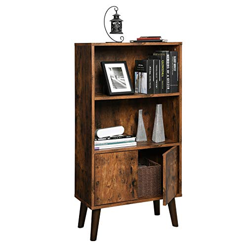 reputable site a1c26 ace4a VASAGLE Retro 2-Tier Bookcase with Storage Cabinet
